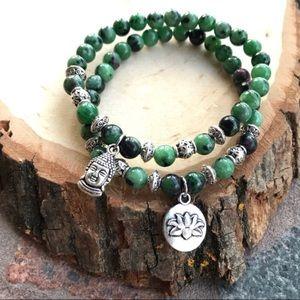 Silverskylight Jewelry - Boho set buddha & lotus flower & ruby in zoisite